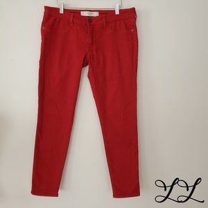 Abercrombie & Fitch Jeans Red Tapered Crop Fitted